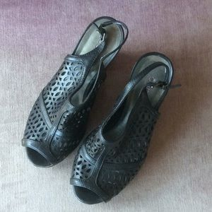 Black peep toe wedge sandals size 7.5